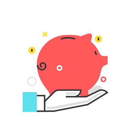 Color box icon, wealth protection illustration, icon, background and graphics. The illustration is colorful, flat, vector, pixel perfect, suitable for web and print. It is linear stokes and fills.
