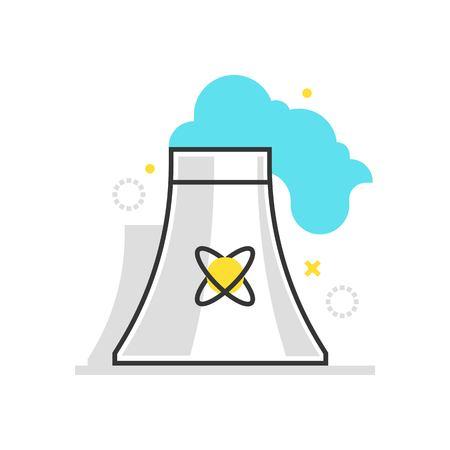 Icône de boîte de couleur, illustration de centrale nucléaire, icône, arrière-plan et graphiques. L'illustration est colorée, plate, vecteur, pixel parfait, adaptée au Web et à l'impression. C'est linéaire Stokes et remplit.