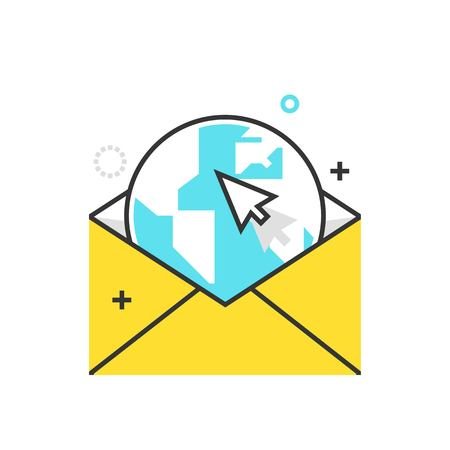Color box icon, mailing illustration, icon, background and graphics. The illustration is colorful, flat, vector, pixel perfect for web and print. Linear stokes and fills. Illustration