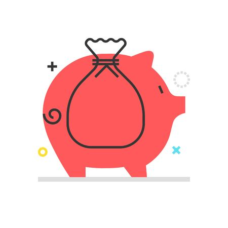 Color box icon, piggy bank illustration, icon, background and graphics. The illustration is colorful, flat, vector, pixel perfect, suitable for web and print. It is linear stokes and fills.