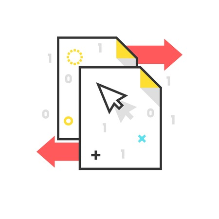synchronize: Color box icon, data exchange illustration, icon, background and graphics. The illustration is colorful, flat, vector, pixel perfect for web and print. Linear stokes and fills. Illustration