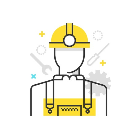 Color box icon, industry worker illustration, icon, background and graphics. The illustration is colorful, flat, vector, pixel perfect, suitable for web and print. It is linear stokes and fills. Illustration