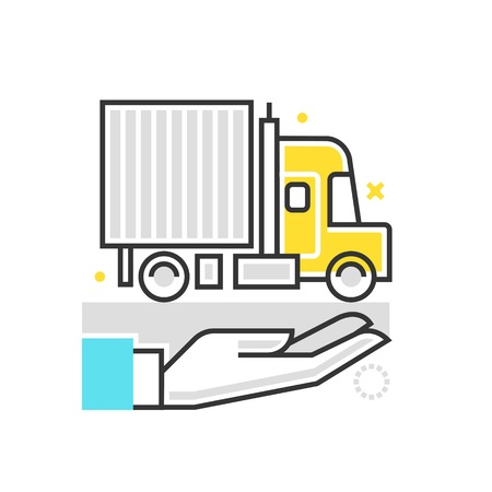 general insurance: Color box icon, truck protection illustration, icon, background and graphics. The illustration is colorful, flat, vector, pixel perfect, suitable for web and print. It is linear stokes and fills. Illustration