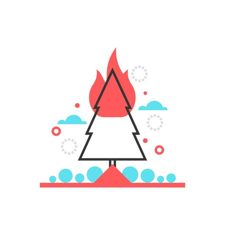 madre tierra: Color box icon, forest fire protection illustration, icon, background and graphics. The illustration is colorful, flat, vector, pixel perfect, suitable for web and print. It is linear stokes and fills.