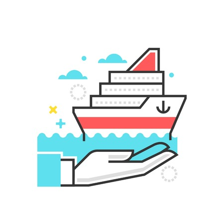 general insurance: Color box icon, ship protection illustration, icon, background and graphics. The illustration is colorful, flat, vector, pixel perfect, suitable for web and print. It is linear stokes and fills.