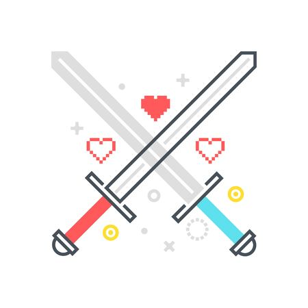 Color line, crossing swords illustration, icon, background and graphics. The illustration is colorful, flat, vector, pixel perfect, suitable for web and print. It is linear stokes and fills.
