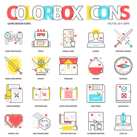 Color box icons, game development backgrounds and graphics. The illustration is colorful, flat, vector, pixel perfect, suitable for web and print. Linear stokes and fills.
