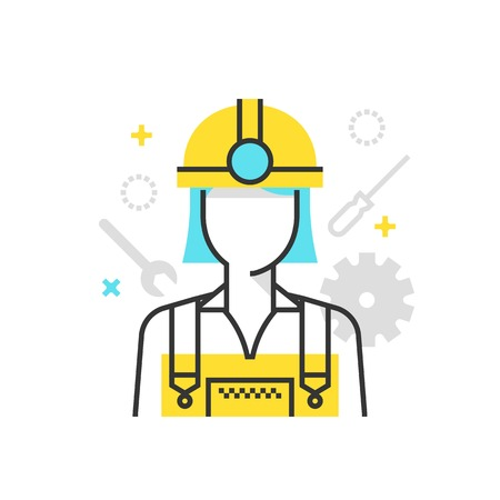 suitable: Color box icon, industry worker illustration, icon, background and graphics. The illustration is colorful, flat, vector, pixel perfect, suitable for web and print. It is linear stokes and fills. Illustration
