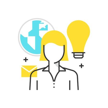 Icona della casella di colore, esternalizzare, concetto di cloud concept, icona, sfondo e grafica. L'illustrazione è colorato, piatto, vettoriale, pixel perfetto, adatto per il web e la stampa. È stokes e riempimenti lineari.