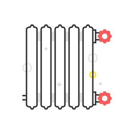 Icona del riscaldatore della scatola di colore, priorità bassa e grafica. L'illustrazione è colorato, piatto, vettoriale, pixel perfetto, adatto per il web e la stampa. È stokes e riempimenti lineari. Archivio Fotografico - 80531864