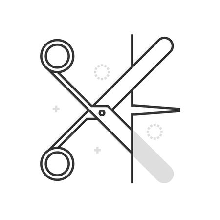 cut paper: Color box scissors icon, background and graphics. The illustration is colorful, flat, vector, pixel perfect, suitable for web and print. It is linear stokes and fills.
