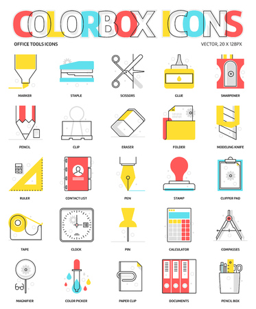 Color box icons, office tools backgrounds and graphics. The illustration is colorful, flat, vector, pixel perfect, suitable for web and print. Linear stokes and fills. Illustration