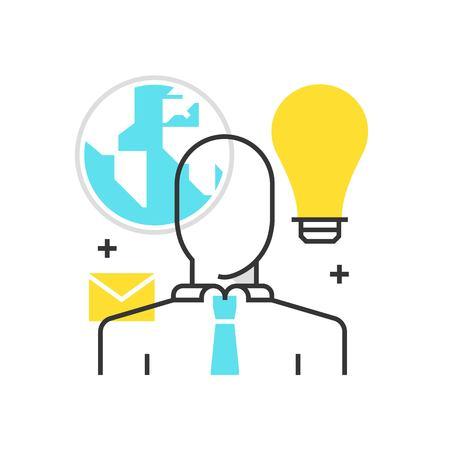 Icona della casella di colore, esternalizzare, illustrazione di concetto di nuvola, icona, sfondo e grafica. L'illustrazione è colorata, piatta, vettoriale, pixel perfetta, adatta per il web e la stampa. È lineare e riempie.