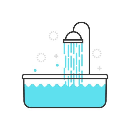 suitable: Color box bath tub icon, background and graphics. The illustration is colorful, flat, vector, pixel perfect, suitable for web and print. It is linear stokes and fills.