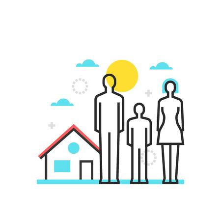 Color box house icon, background and graphics. The illustration is colorful, flat, vector, pixel perfect, suitable for web and print. It is linear stokes and fills.