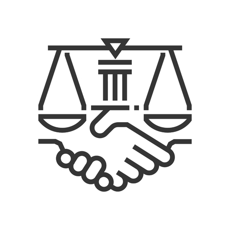 Business law icon, part of the square icons, law and justice icon set. The illustration is a vector, editable stroke, thirty-two by thirty-two matrix grid, pixel perfect file.