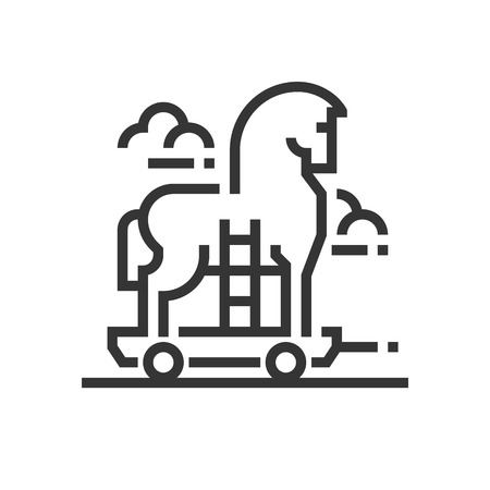 Trojan horse icon, part of the square icons, car service icon set. The illustration is a vector, editable stroke, thirty-two by thirty-two matrix grid, pixel perfect file. Illustration