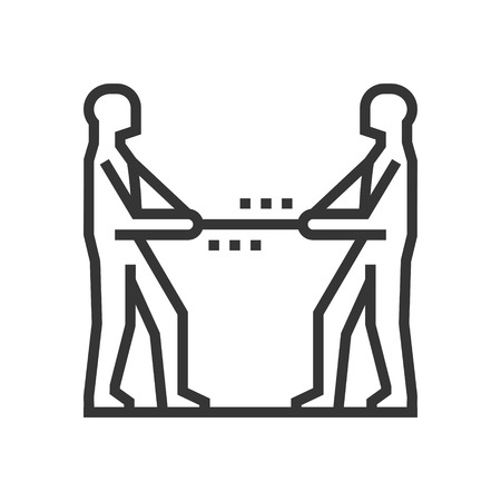 Rope pulling icon, part of the square icons, law and justice icon set. The illustration is a vector, editable stroke, thirty-two by thirty-two matrix grid, pixel perfect file.