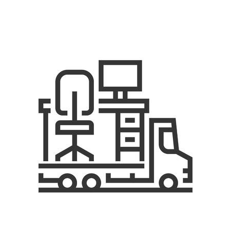 moving truck: Office moving icon, part of the square icons, car service icon set. The illustration is a vector, editable stroke, thirty-two by thirty-two matrix grid, pixel perfect file.
