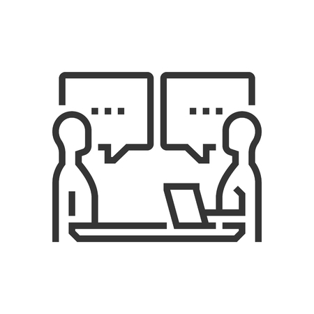 Interview icon, part of the square icons, car service icon set. The illustration is a vector, editable stroke, thirty-two by thirty-two matrix grid, pixel perfect file. Illustration