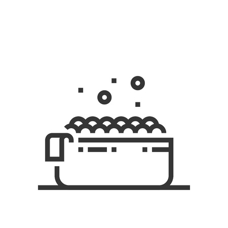 Bath tub icon, part of the square icons, beauty salon icon set. The illustration is a vector, editable stroke, thirty-two by thirty-two matrix grid, pixel perfect file. Иллюстрация