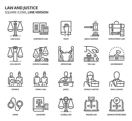 scale of justice: Law and justice, square icon set. The illustrations are a vector, editable stroke, thirty-two by thirty-two matrix grid, pixel perfect files. Crafted with precision and eye for quality.
