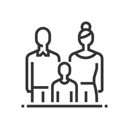Child custody icon, part of the square icons, law and justice icon set. The illustration is a vector, editable stroke, thirty-two by thirty-two matrix grid, pixel perfect file.