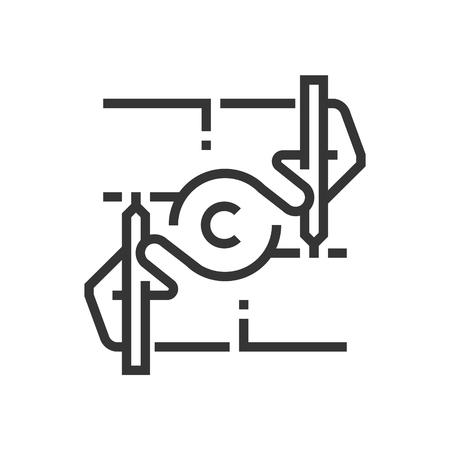 저작권 아이콘, 사각형 아이콘, 법률 및 정의 아이콘 집합의 일부입니다. 그림은 벡터, 편집 가능한 획, 32-32 매트릭스 격자, 픽셀 완벽한 파일로 32입니