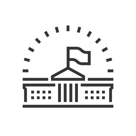 Government icon, part of the square icons, law and justice icon set. The illustration is a vector, editable stroke, thirty-two by thirty-two matrix grid, pixel perfect file.