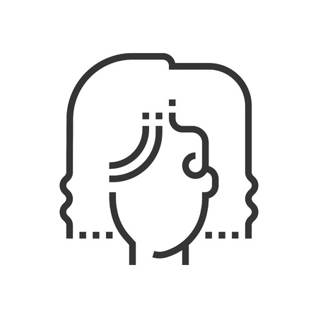coiffeur: Bridal hair icon, part of the square icons, hair salon icon set. The illustration is a vector, editable stroke, thirty-two by thirty-two matrix grid, pixel perfect file. Illustration