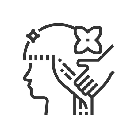 Hair care icon, part of the square icons, beauty salon icon set. The illustration is a vector, editable stroke, thirty-two by thirty-two matrix grid, pixel perfect file.