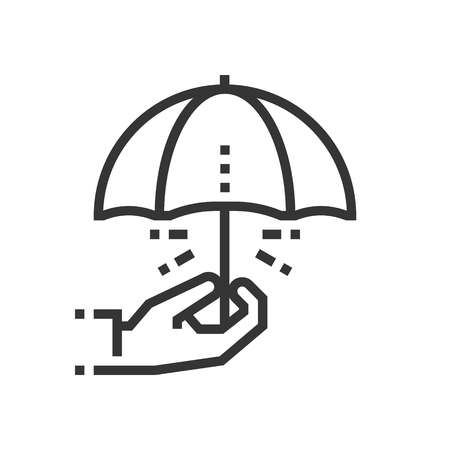 Protection icon, part of the square icons, law and justice icon set. The illustration is a vector, editable stroke, thirty-two by thirty-two matrix grid, pixel perfect file. Çizim