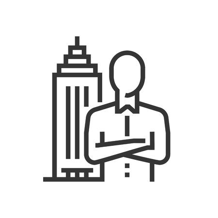 Executive search icon, part of the square icons, car service icon set. The illustration is a vector, editable stroke, thirty-two by thirty-two matrix grid, pixel perfect file. Illustration