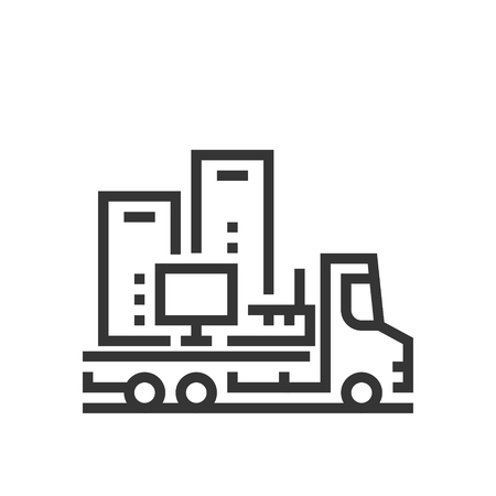 Moving electronics icon, part of the square icons, car service icon set. The illustration is a vector, editable stroke, thirty-two by thirty-two matrix grid, pixel perfect file.