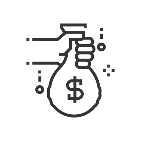Money bag icon, part of the square icons, car service icon set. The illustration is a vector, editable stroke, thirty-two by thirty-two matrix grid, pixel perfect file.