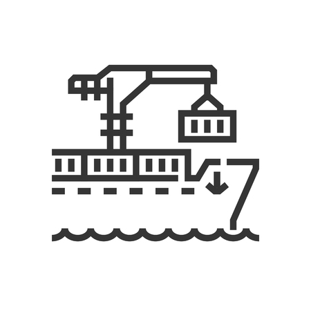 Ship icon, part of the square icons, car service icon set. The illustration is a vector, editable stroke, thirty-two by thirty-two matrix grid, pixel perfect file.