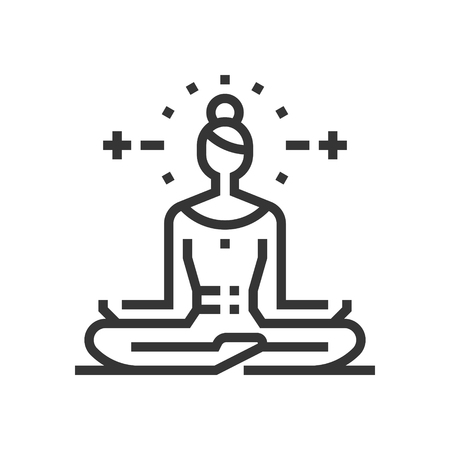 Yoga icon, part of the square icons, beauty salon icon set. The illustration is a vector, editable stroke, thirty-two by thirty-two matrix grid, pixel perfect file.