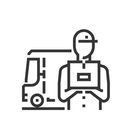 Delivery service icon, part of the square icons, car service icon set. The illustration is a vector, editable stroke, thirty-two by thirty-two matrix grid, pixel perfect file. Иллюстрация