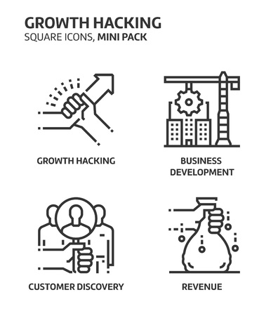Growth. hacking, square mini icon set. The illustrations are a vector, editable stroke, thirty-two by thirty-two matrix grid, pixel perfect files. Crafted with precision and eye for quality.