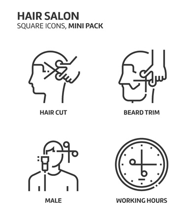 Hairdresser, square mini icon set. The illustrations are a vector, editable stroke, thirty-two by thirty-two matrix grid, pixel perfect files. Crafted with precision and eye for quality.