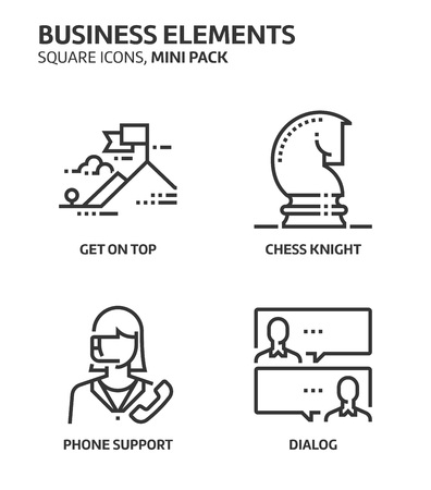 Business elements, square mini icon set. The illustrations are a vector, editable stroke, thirty-two by thirty-two matrix grid, pixel perfect files. Crafted with precision and eye for quality.