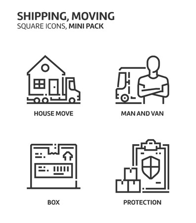 Movine, shipping, square mini icon set. The illustrations are a vector, editable stroke, thirty-two by thirty-two matrix grid, pixel perfect files. Crafted with precision and eye for quality.