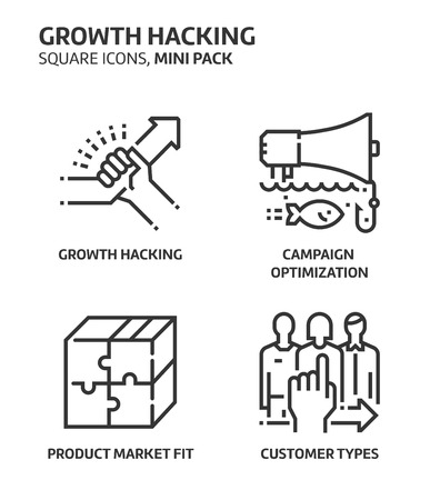 Growth hacking, square mini icon set. The illustrations are a vector, editable stroke, thirty-two by thirty-two matrix grid, pixel perfect files. Crafted with precision and eye for quality.