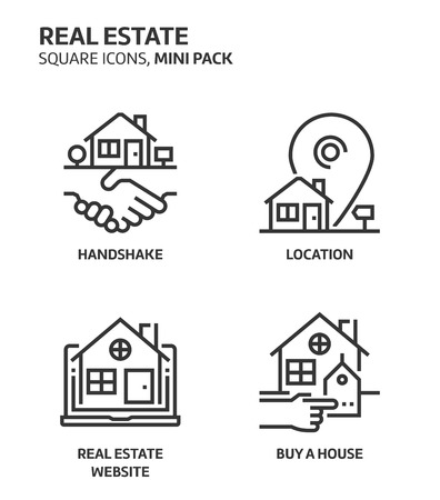 Real estate, square mini icon set. The illustrations are a vector, editable stroke, thirty-two by thirty-two matrix grid, pixel perfect files. Crafted with precision and eye for quality.