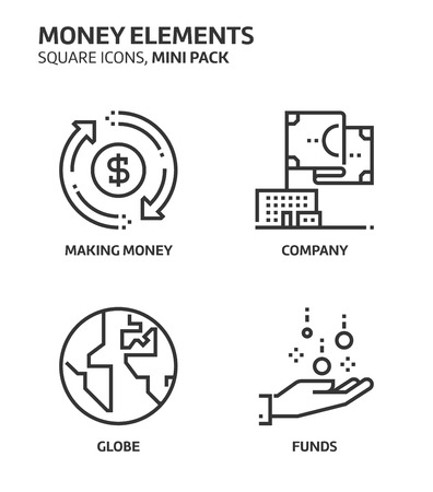 Money elements, square mini icon set. The illustrations are a vector, editable stroke, thirty-two by thirty-two matrix grid, pixel perfect files. Crafted with precision and eye for quality.