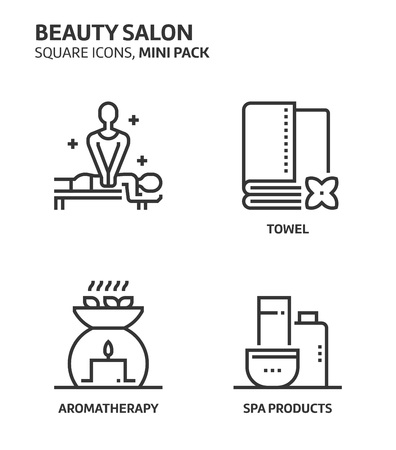 Beautiy salon, square mini icon set. The illustrations are a vector, editable stroke, thirty-two by thirty-two matrix grid, pixel perfect files. Crafted with precision and eye for quality.