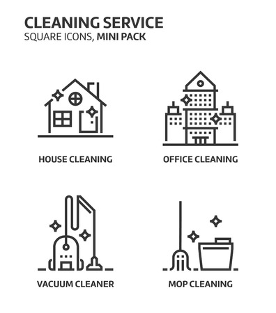 Cleaning service, square mini icon set. The illustrations are a vector, editable stroke, thirty-two by thirty-two matrix grid, pixel perfect files. Crafted with precision and eye for quality. Иллюстрация