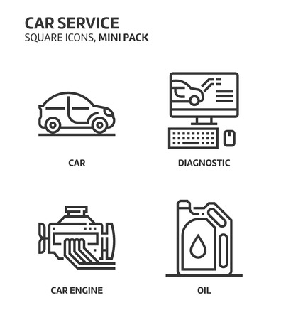 Car service, square mini icon set. The illustrations are a vector, editable stroke, thirty-two by thirty-two matrix grid, pixel perfect files. Crafted with precision and eye for quality.