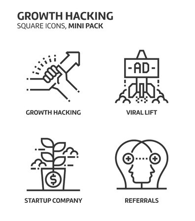 Growt hacking, square mini icon set. The illustrations are a vector, editable stroke, thirty-two by thirty-two matrix grid, pixel perfect files. Crafted with precision and eye for quality. Illustration