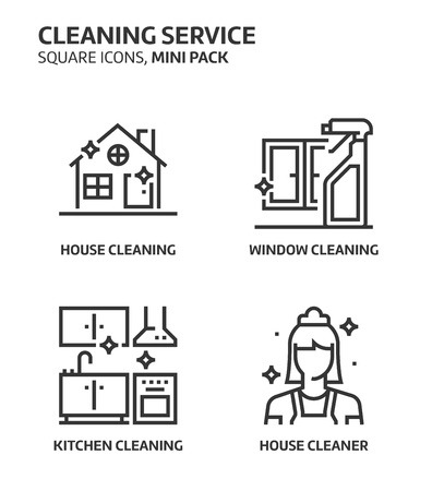 Cleaning service, square mini icon set. The illustrations are a vector, editable stroke, thirty-two by thirty-two matrix grid, pixel perfect files. Crafted with precision and eye for quality. Illustration